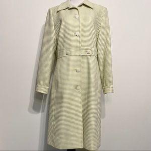 Larry Levine Green & White Houndstooth Peacoat
